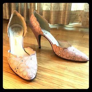 Stuart Weitzman Embroidered Pink Heels Size 6.5